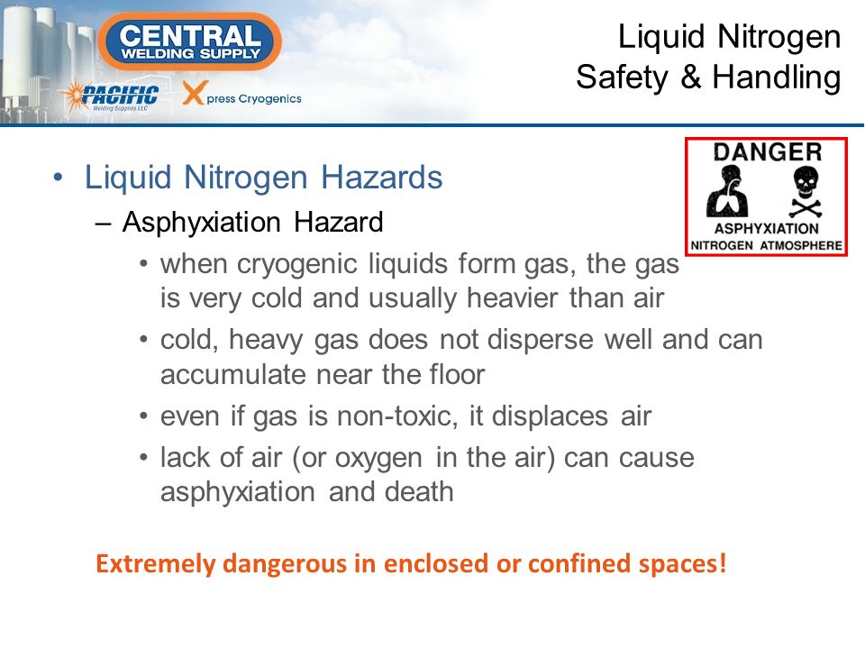 Liquid Nitrogen Hazards –Explosion Due to Rapid Expansion boiling liquid expanding vapor explosion (BLEVE) –improper venting on containers –faulty pressure-relief devices –accidental or unusual conditions »an external fire »incident that may cause break in the vacuum which provides thermal insulation Liquid Nitrogen Safety & Handling