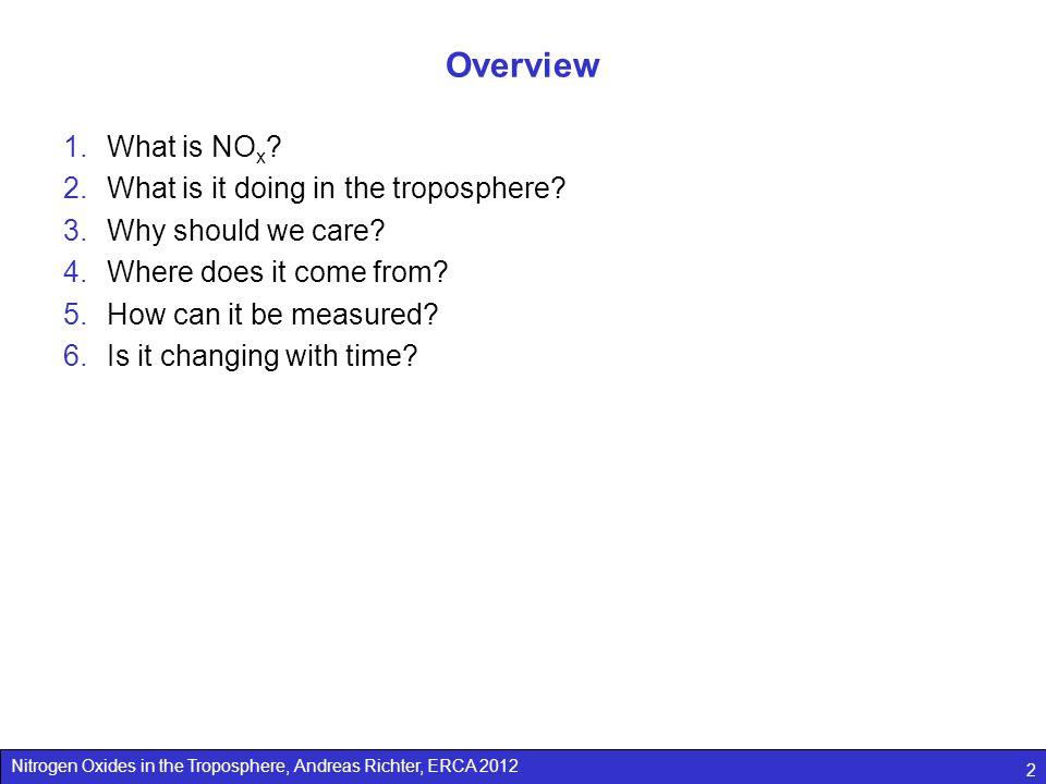 Nitrogen Oxides in the Troposphere, Andreas Richter, ERCA 2012 33 van der A, R.