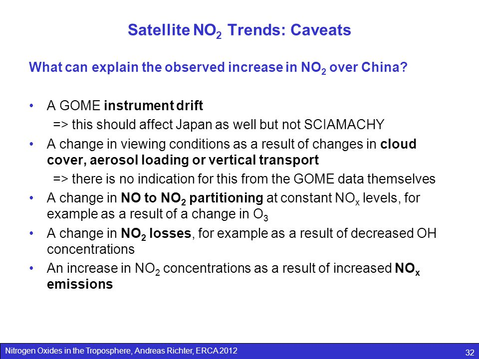 Nitrogen Oxides in the Troposphere, Andreas Richter, ERCA 2012 32 Satellite NO 2 Trends: Caveats What can explain the observed increase in NO 2 over China.