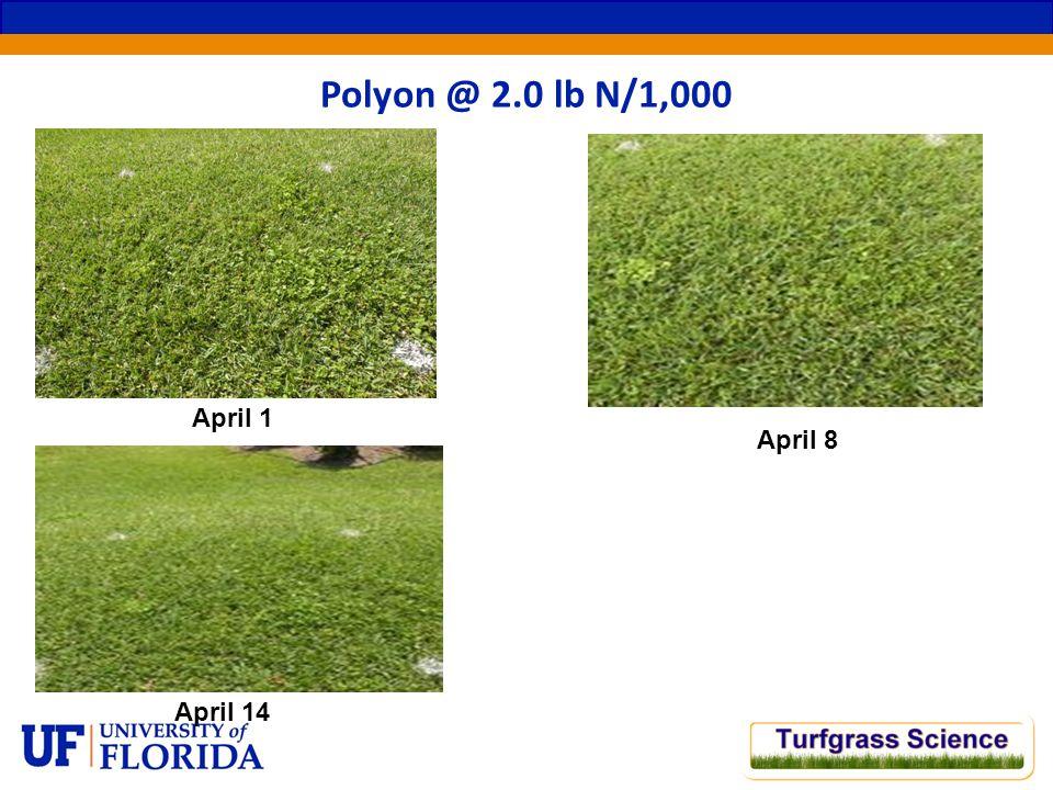 April 1 Polyon @ 2.0 lb N/1,000 April 8 April 14