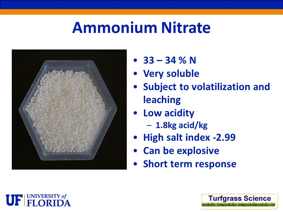 Ammonium Nitrate 33 – 34 % N Very soluble Subject to volatilization and leaching Low acidity –1.8kg acid/kg High salt index -2.99 Can be explosive Short term response