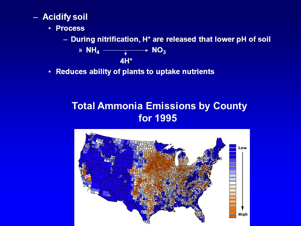 –Acidify soil Process –During nitrification, H + are released that lower pH of soil »NH 4 NO 3 4H + Reduces ability of plants to uptake nutrients Total Ammonia Emissions by County for 1995