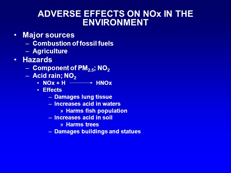 ADVERSE EFFECTS ON NOx IN THE ENVIRONMENT Major sources –Combustion of fossil fuels –Agriculture Hazards –Component of PM 2.5 ; NO 2 –Acid rain; NO 2 NOx + H HNOx Effects –Damages lung tissue –Increases acid in waters »Harms fish population –Increases acid in soil »Harms trees –Damages buildings and statues