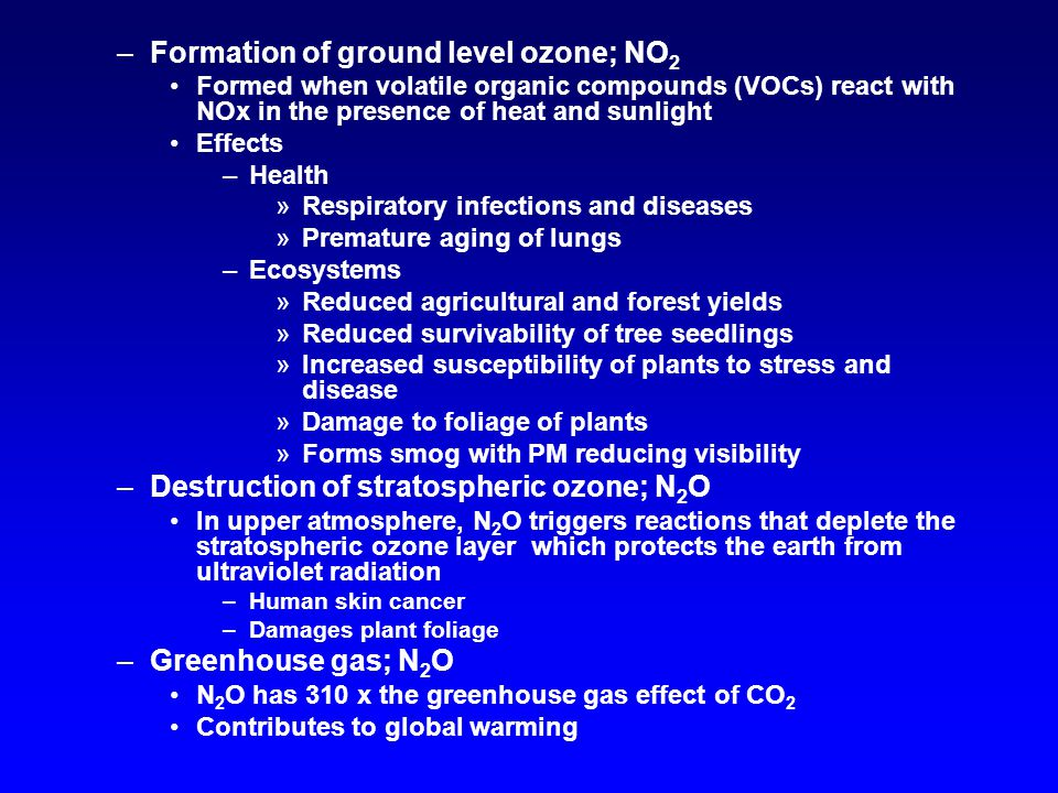 –Formation of ground level ozone; NO 2 Formed when volatile organic compounds (VOCs) react with NOx in the presence of heat and sunlight Effects –Health »Respiratory infections and diseases »Premature aging of lungs –Ecosystems »Reduced agricultural and forest yields »Reduced survivability of tree seedlings »Increased susceptibility of plants to stress and disease »Damage to foliage of plants »Forms smog with PM reducing visibility –Destruction of stratospheric ozone; N 2 O In upper atmosphere, N 2 O triggers reactions that deplete the stratospheric ozone layer which protects the earth from ultraviolet radiation –Human skin cancer –Damages plant foliage –Greenhouse gas; N 2 O N 2 O has 310 x the greenhouse gas effect of CO 2 Contributes to global warming