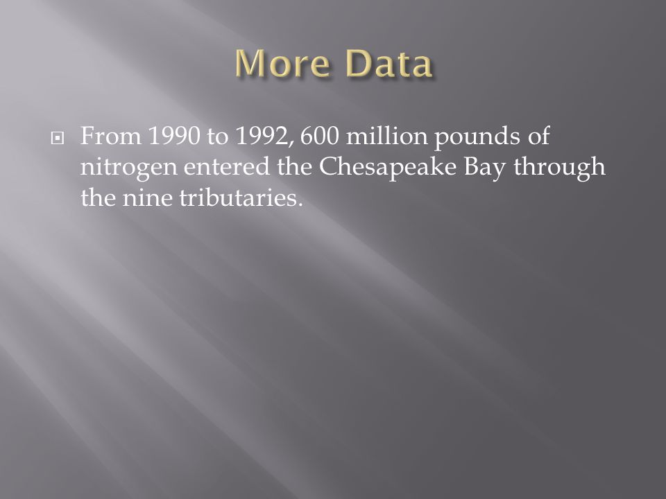  From 1990 to 1992, 600 million pounds of nitrogen entered the Chesapeake Bay through the nine tributaries.