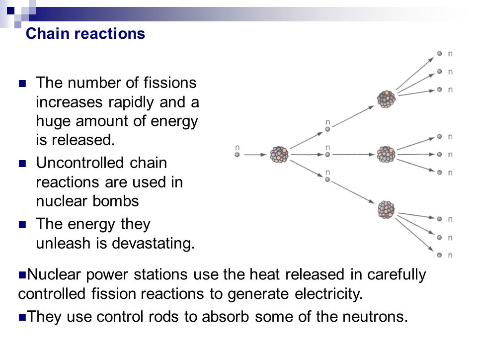 The number of fissions increases rapidly and a huge amount of energy is released. Uncontrolled chain reactions are used in nuclear bombs The energy th