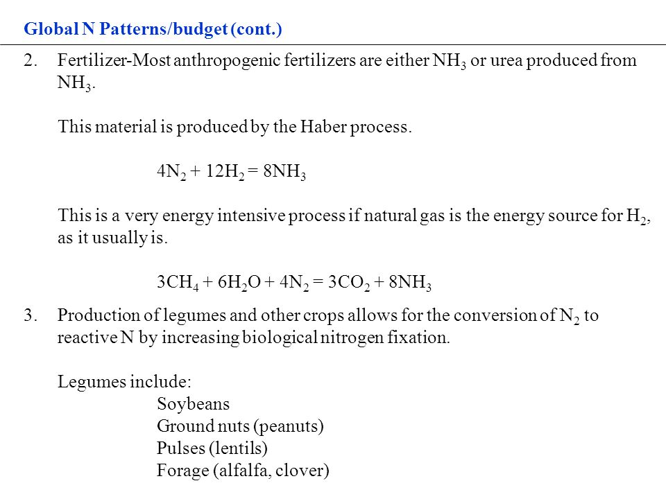 Global N Patterns/budget (cont.) 2.Fertilizer-Most anthropogenic fertilizers are either NH 3 or urea produced from NH 3.