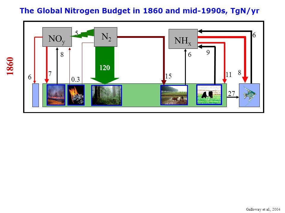 8 0.3 6 9 15 27 NO y N2N2N2N2 NH x 5 6 The Global Nitrogen Budget in 1860 and mid-1990s, TgN/yr 1860 120 Galloway et al., 2004 6 7 11 8