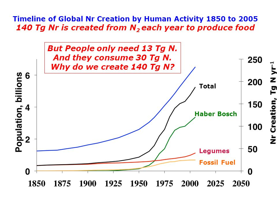 Timeline of Global Nr Creation by Human Activity 1850 to 2005 140 Tg Nr is created from N 2 each year to produce food Haber Bosch Total But People only need 13 Tg N.