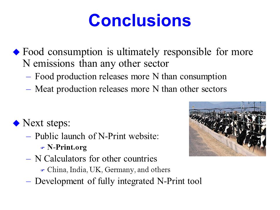 Conclusions  Food consumption is ultimately responsible for more N emissions than any other sector –Food production releases more N than consumption –Meat production releases more N than other sectors  Next steps: –Public launch of N-Print website:  N-Print.org –N Calculators for other countries  China, India, UK, Germany, and others –Development of fully integrated N-Print tool