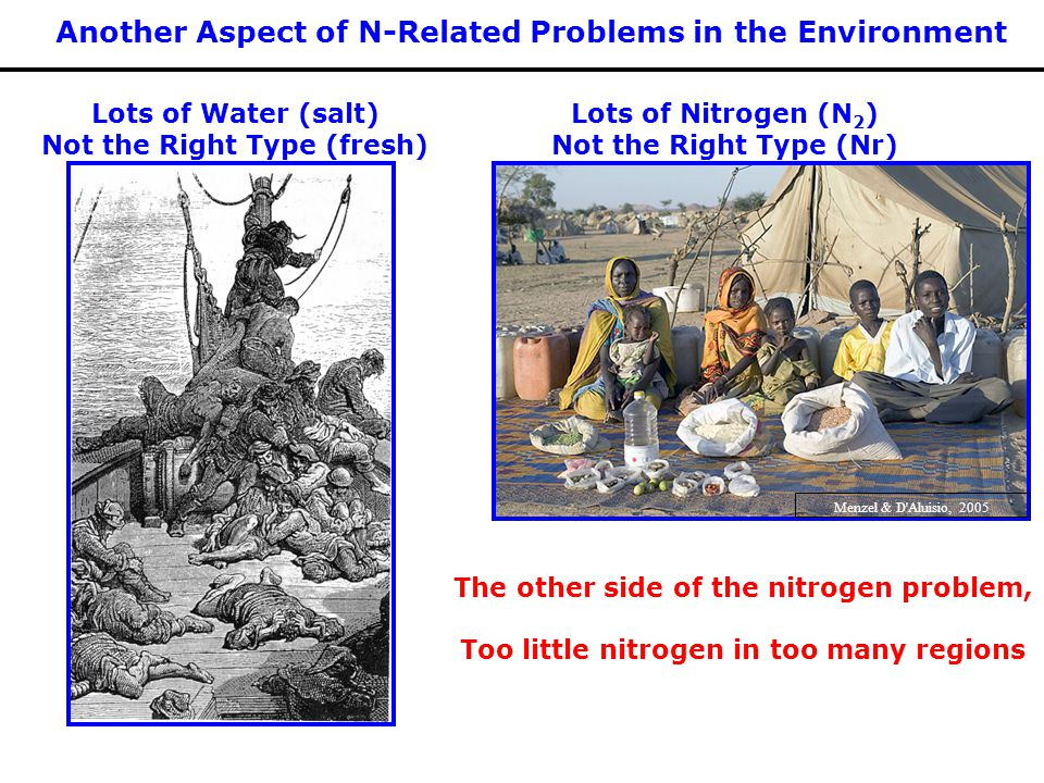 Lots of Water (salt) Not the Right Type (fresh) Lots of Nitrogen (N 2 ) Not the Right Type (Nr) The other side of the nitrogen problem, Too little nitrogen in too many regions Another Aspect of N-Related Problems in the Environment Menzel & D Aluisio, 2005