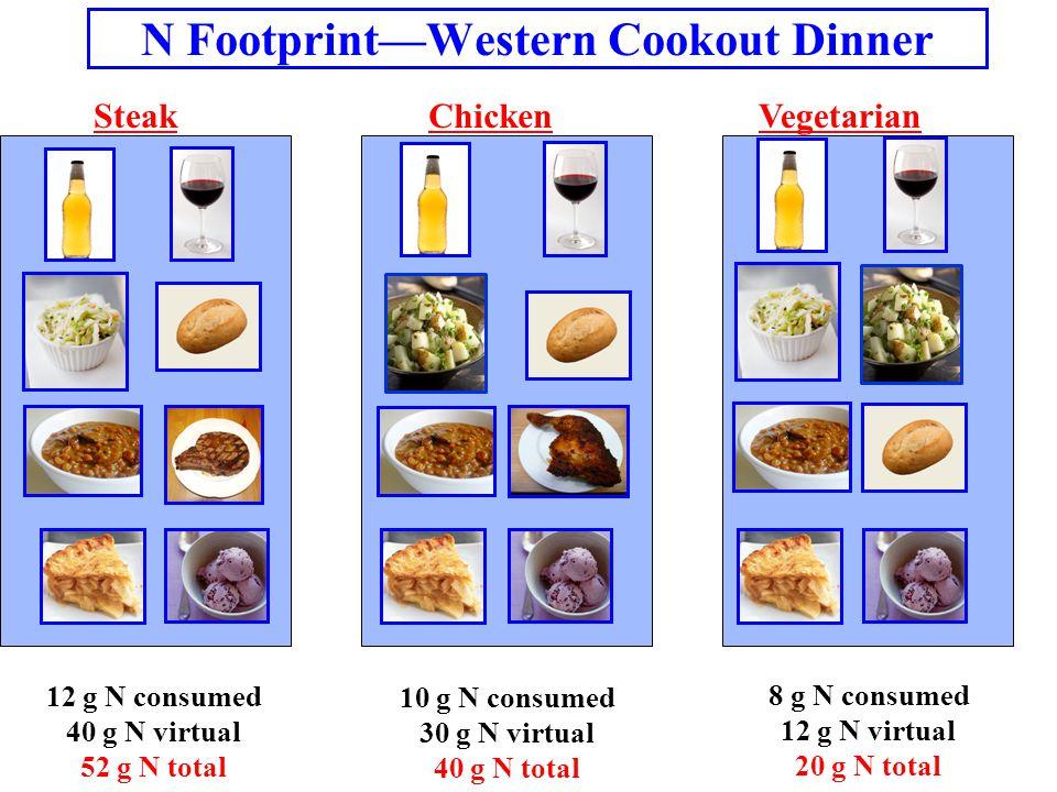 N Footprint—Western Cookout Dinner SteakChickenVegetarian 12 g N consumed 40 g N virtual 52 g N total 10 g N consumed 30 g N virtual 40 g N total 8 g N consumed 12 g N virtual 20 g N total