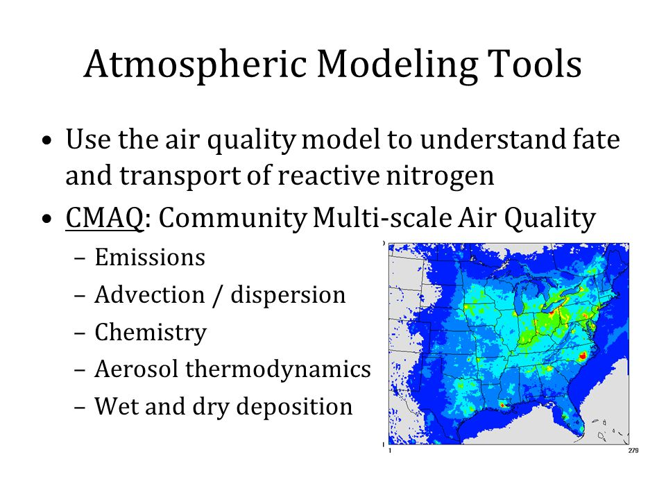 Atmospheric Modeling Tools Use the air quality model to understand fate and transport of reactive nitrogen CMAQ: Community Multi-scale Air Quality –Emissions –Advection / dispersion –Chemistry –Aerosol thermodynamics –Wet and dry deposition