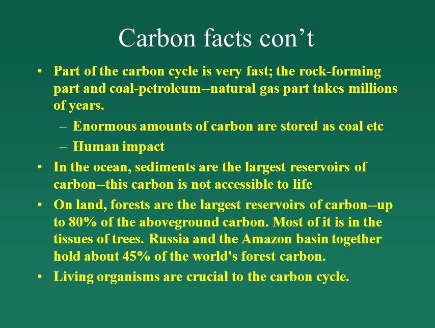 Carbon facts con't Part of the carbon cycle is very fast; the rock-forming part and coal-petroleum--natural gas part takes millions of years.