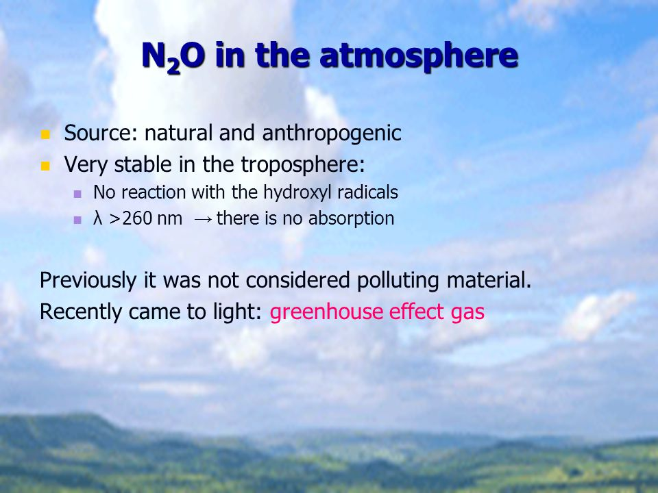 N 2 O in the atmosphere Source: natural and anthropogenic Very stable in the troposphere: No reaction with the hydroxyl radicals λ >260 nm → there is