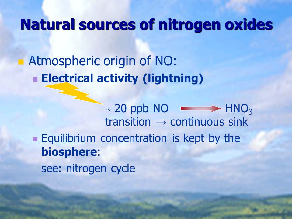 Natural sources of nitrogen oxides Atmospheric origin of NO: Electrical activity (lightning) ~ 20 ppb NO HNO 3 transition → continuous sink Equilibriu