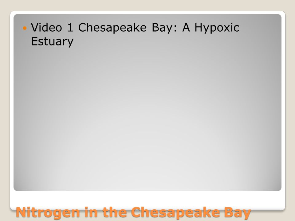 Nitrogen in the Chesapeake Bay Video 1 Chesapeake Bay: A Hypoxic Estuary