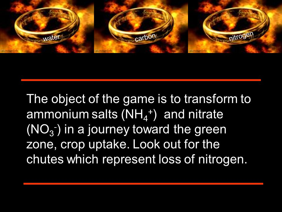 water carbon nitrogen The object of the game is to transform to ammonium salts (NH 4 + ) and nitrate (NO 3 - ) in a journey toward the green zone, crop uptake.