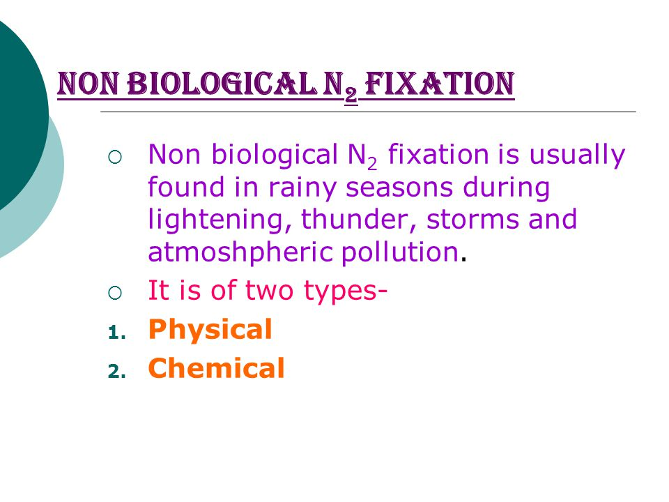 NON BIOLOGICAL N 2 FIXATION  Non biological N 2 fixation is usually found in rainy seasons during lightening, thunder, storms and atmoshpheric pollution.