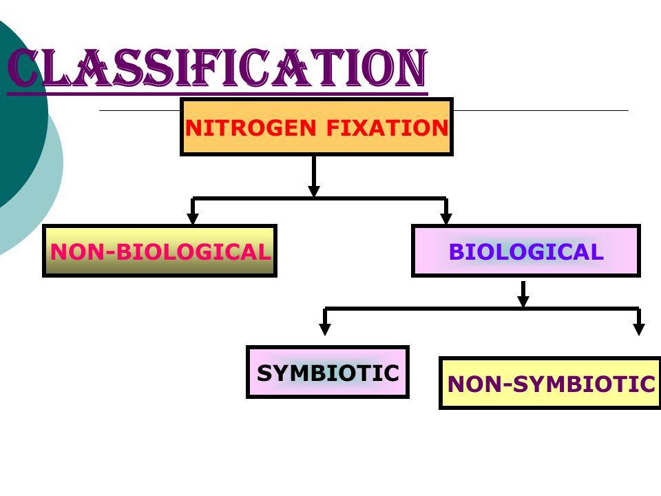 CLASSIFICATION NITROGEN FIXATION NON-BIOLOGICALBIOLOGICAL SYMBIOTIC NON-SYMBIOTIC
