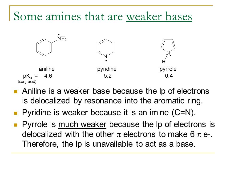 Some amines that are weaker bases (conj.