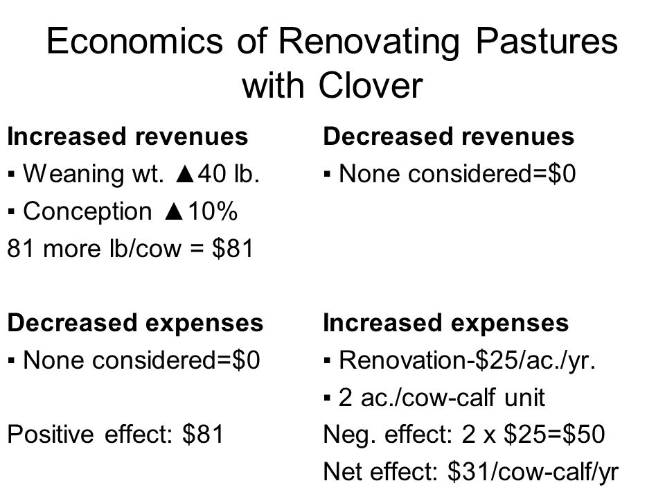 Economics of Renovating Pastures with Clover Increased revenues ▪ Weaning wt.