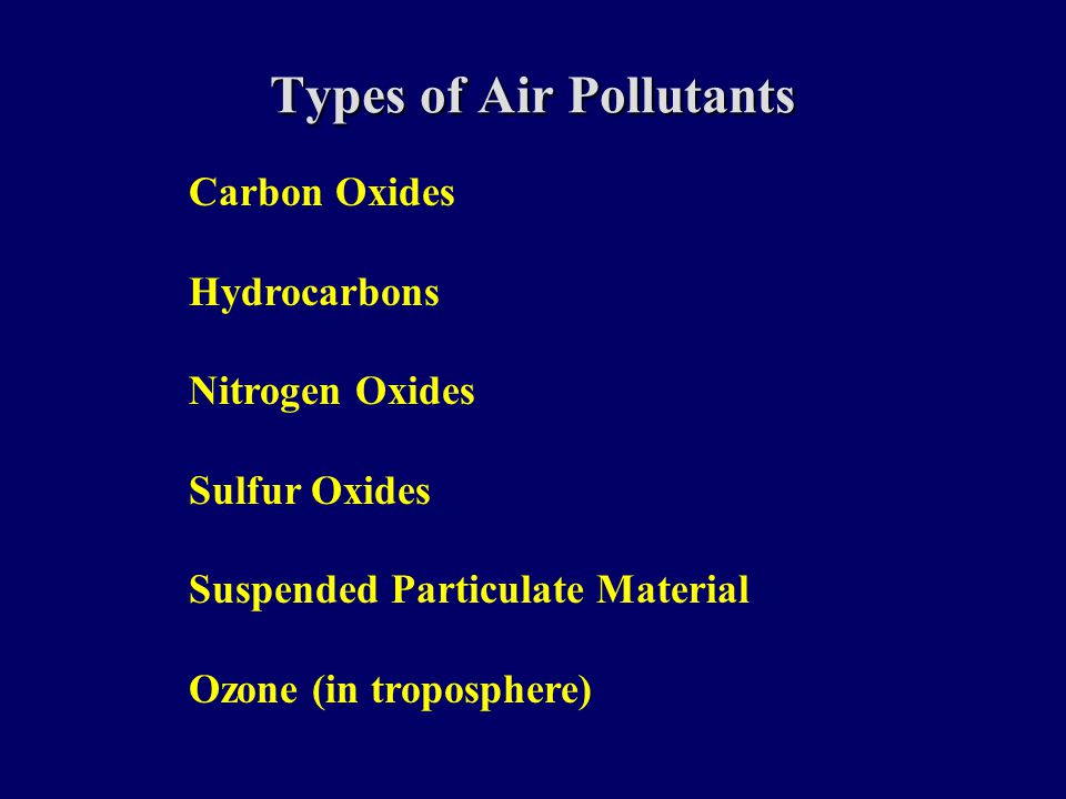 Types of Air Pollutants Carbon Oxides Hydrocarbons Nitrogen Oxides Sulfur Oxides Suspended Particulate Material Ozone (in troposphere)