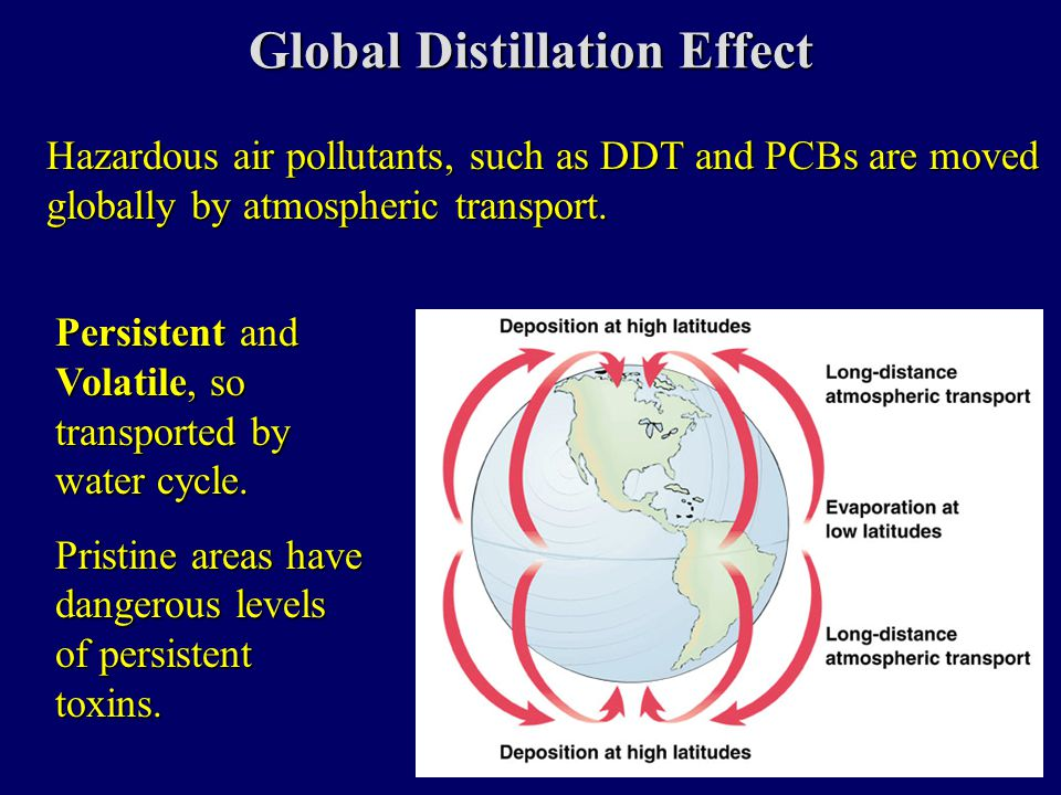 Global Distillation Effect Hazardous air pollutants, such as DDT and PCBs are moved globally by atmospheric transport.