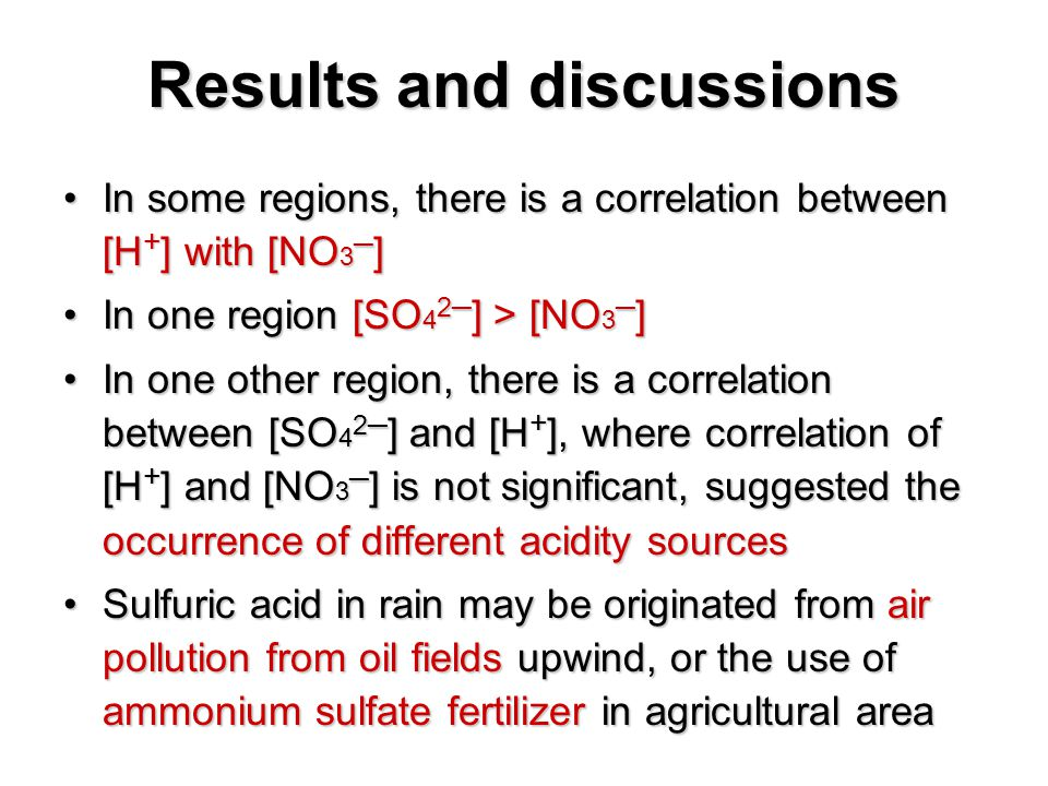 In some regions, there is a correlation between [H + ] with [NO 3 ─ ]In some regions, there is a correlation between [H + ] with [NO 3 ─ ] In one region [SO 4 2─ ] > [NO 3 ─ ]In one region [SO 4 2─ ] > [NO 3 ─ ] In one other region, there is a correlation between [SO 4 2─ ] and [H + ], where correlation of [H + ] and [NO 3 ─ ] is not significant, suggested the occurrence of different acidity sourcesIn one other region, there is a correlation between [SO 4 2─ ] and [H + ], where correlation of [H + ] and [NO 3 ─ ] is not significant, suggested the occurrence of different acidity sources Sulfuric acid in rain may be originated from air pollution from oil fields upwind, or the use of ammonium sulfate fertilizer in agricultural areaSulfuric acid in rain may be originated from air pollution from oil fields upwind, or the use of ammonium sulfate fertilizer in agricultural area Results and discussions