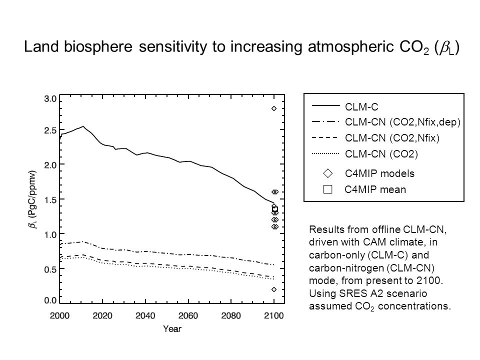 CLM-C CLM-CN (CO2,Nfix,dep) CLM-CN (CO2,Nfix) CLM-CN (CO2)  C4MIP models  C4MIP mean Land biosphere sensitivity to increasing atmospheric CO 2 (  L ) Results from offline CLM-CN, driven with CAM climate, in carbon-only (CLM-C) and carbon-nitrogen (CLM-CN) mode, from present to 2100.