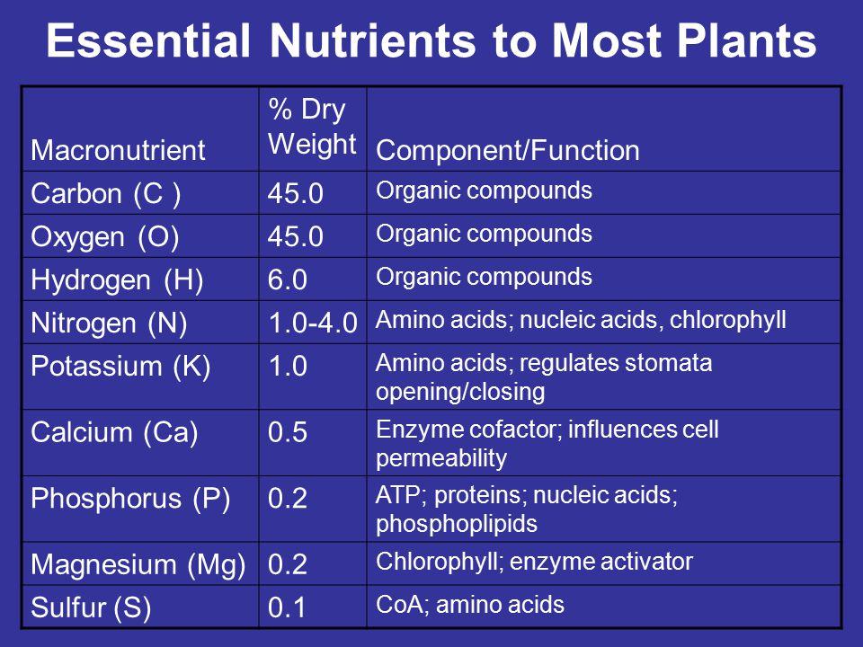 Types of Essential Nutrients Nine essential nutrients, called macronutrients, are needed in very large amounts Eight other essential nutrients, called micronutrients, are needed only in small amounts.
