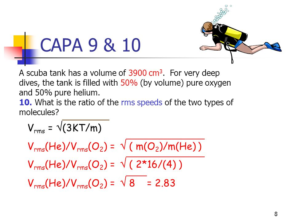 7 CAPA 9 & 10 A scuba tank has a volume of 3900 cm 3. For very deep dives, the tank is filled with 50% (by volume) pure oxygen and 50% pure helium. 9.