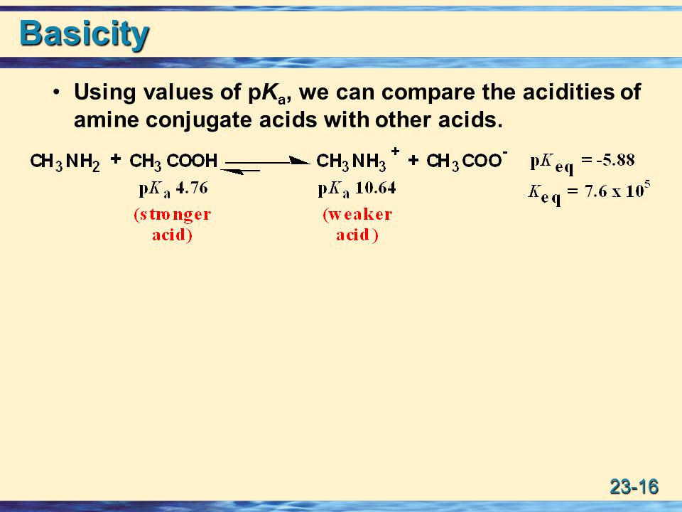 23-16 Basicity Using values of pK a, we can compare the acidities of amine conjugate acids with other acids.