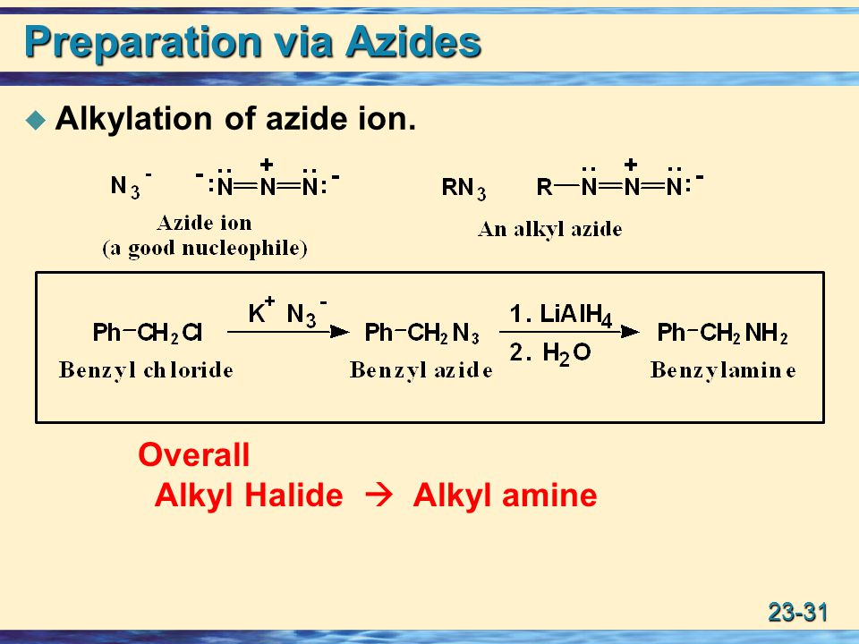 23-31 Preparation via Azides  Alkylation of azide ion. Overall Alkyl Halide  Alkyl amine