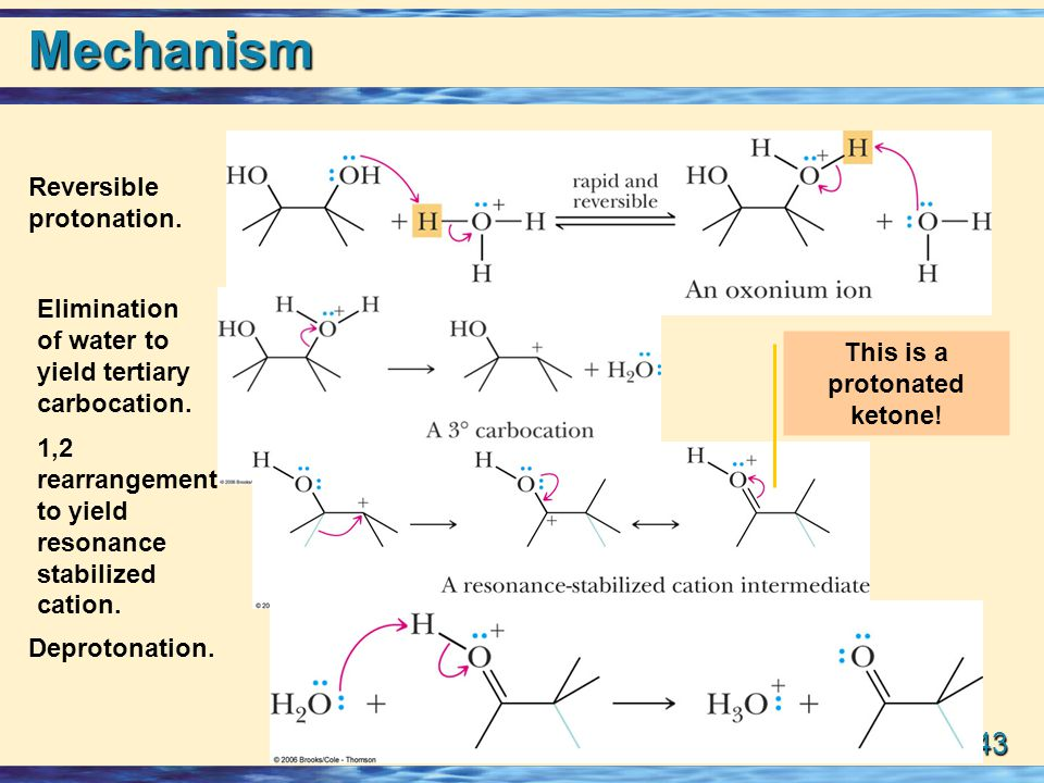 23-43 Mechanism Reversible protonation.Elimination of water to yield tertiary carbocation.