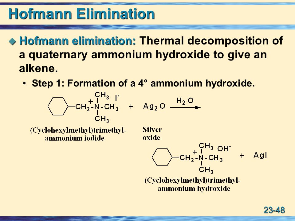 23-48 Hofmann Elimination  Hofmann elimination:  Hofmann elimination: Thermal decomposition of a quaternary ammonium hydroxide to give an alkene.