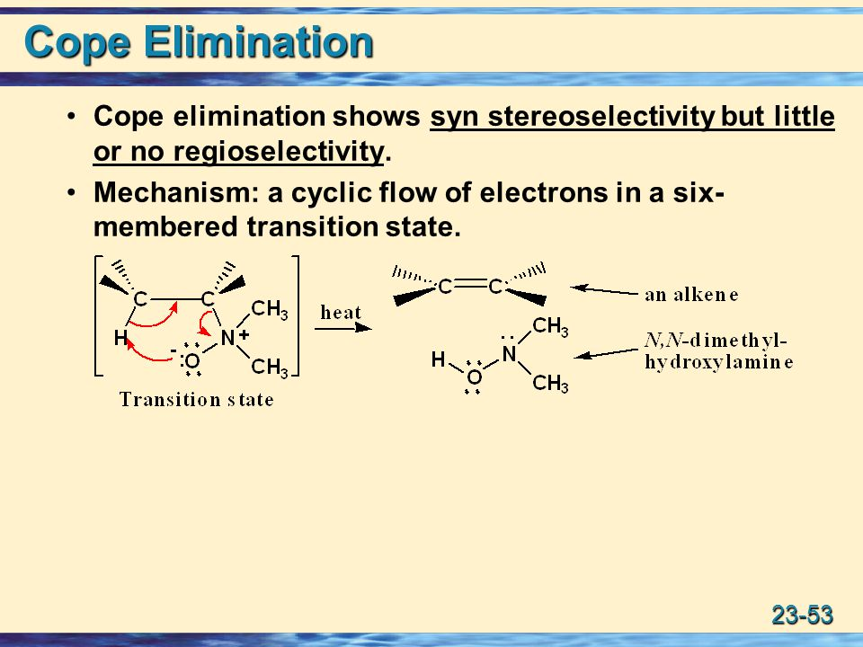 23-53 Cope Elimination Cope elimination shows syn stereoselectivity but little or no regioselectivity.