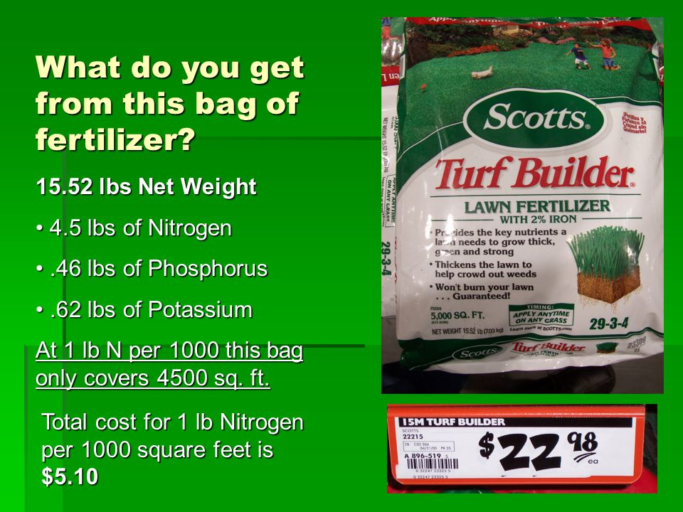 What do you get from this bag of fertilizer? 15.52 lbs Net Weight 4.5 lbs of Nitrogen 4.5 lbs of Nitrogen.46 lbs of Phosphorus.46 lbs of Phosphorus.62