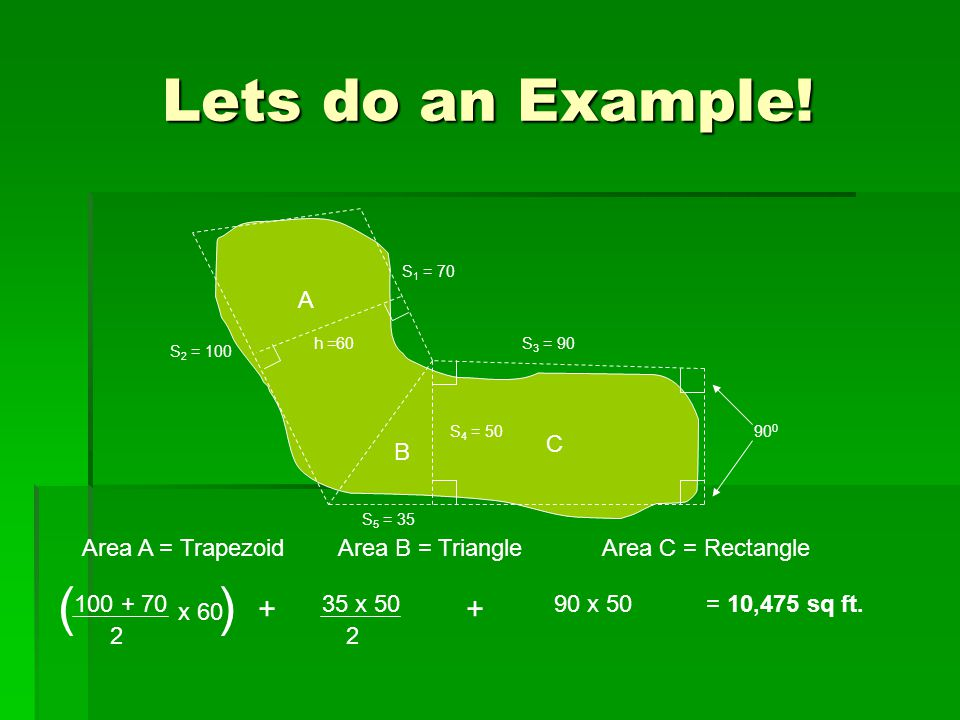 Lets do an Example! A B C 90 0 h =60 S 1 = 70 S 2 = 100 S 3 = 90 S 4 = 50 S 5 = 35 Area A = TrapezoidArea B = TriangleArea C = Rectangle 100 + 70 2 x