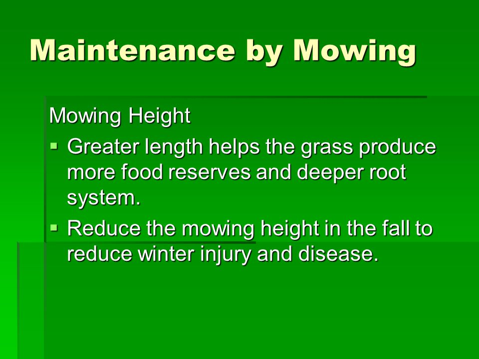 Maintenance by Mowing Mowing Height  Greater length helps the grass produce more food reserves and deeper root system.  Reduce the mowing height in