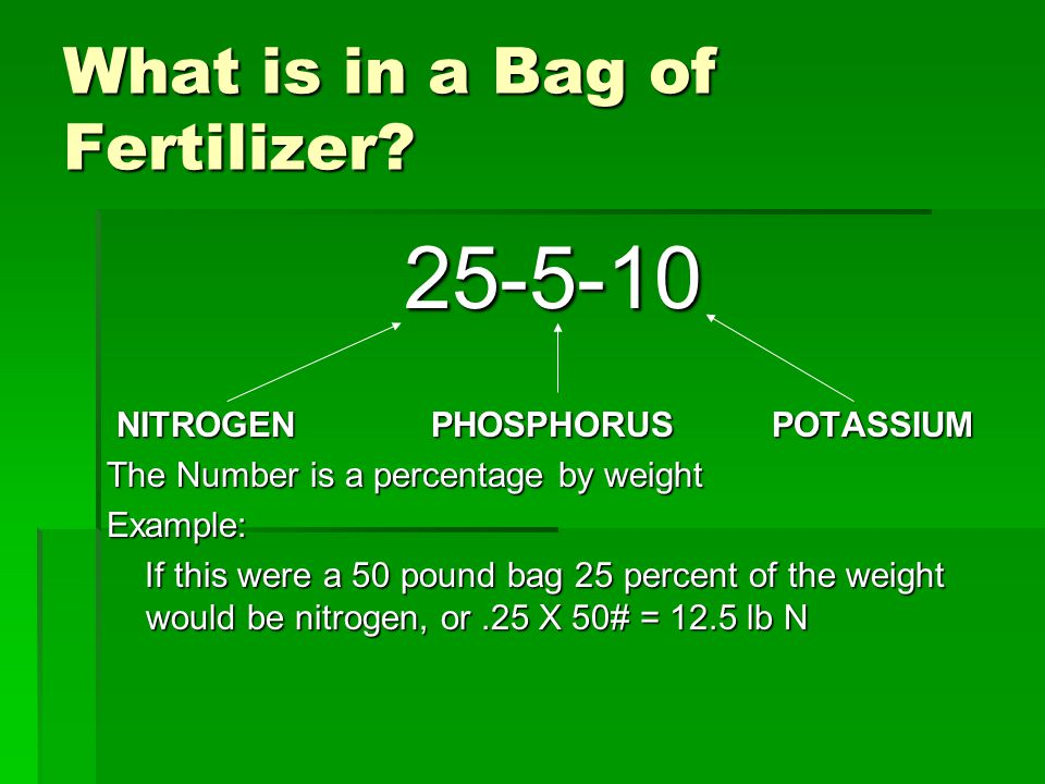 What is in a Bag of Fertilizer? 25-5-10 NITROGEN PHOSPHORUS POTASSIUM NITROGEN PHOSPHORUS POTASSIUM The Number is a percentage by weight Example: If t