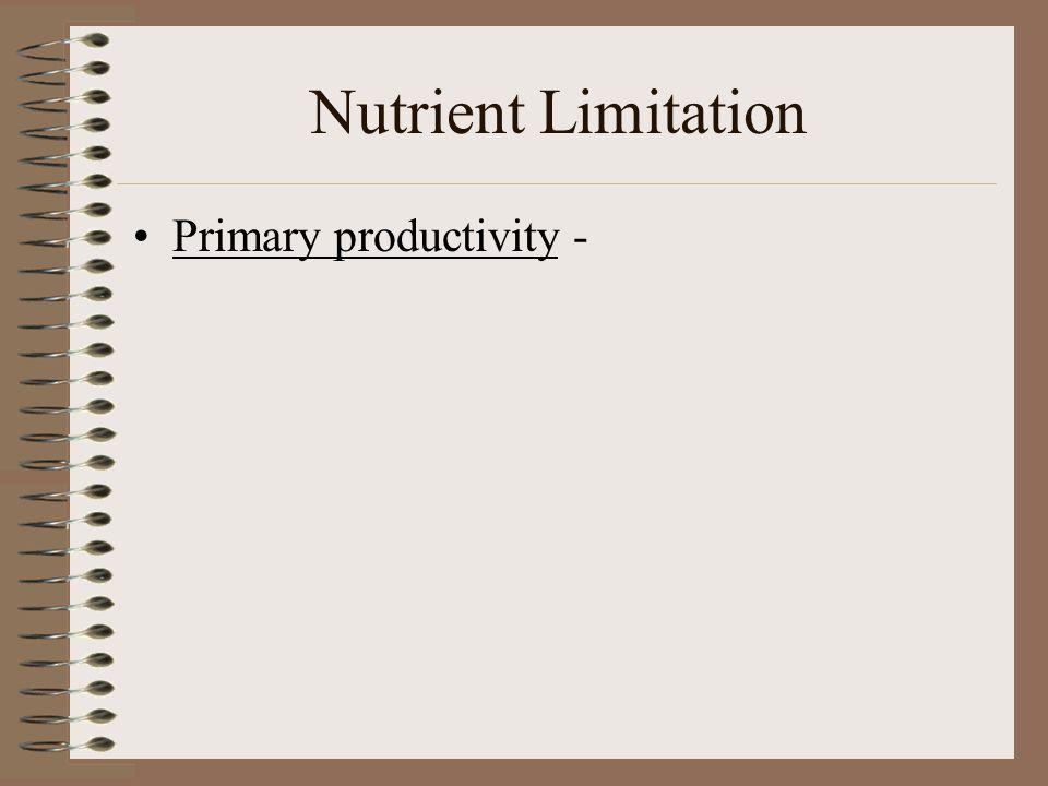 Nutrient Limitation Primary productivity -