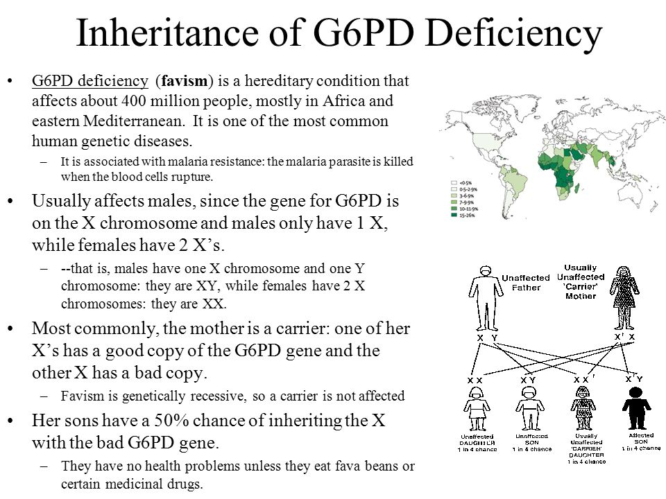 Inheritance of G6PD Deficiency G6PD deficiency (favism) is a hereditary condition that affects about 400 million people, mostly in Africa and eastern