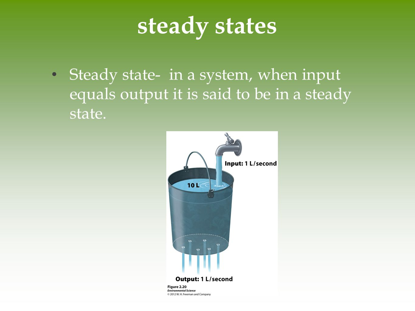 steady states Steady state- in a system, when input equals output it is said to be in a steady state.