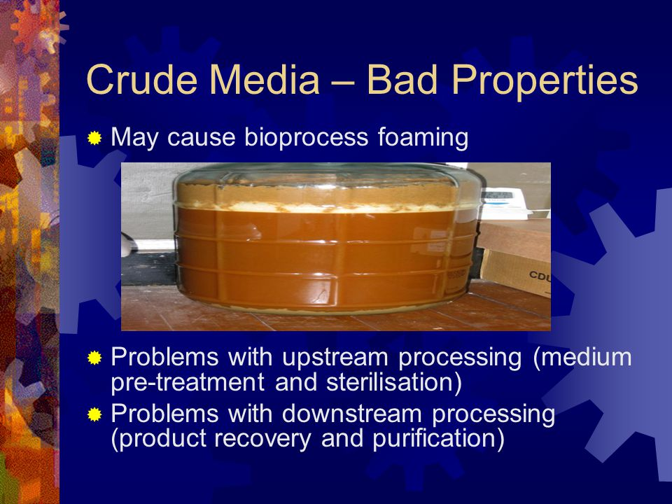 Crude Media – Bad Properties  May cause bioprocess foaming  Problems with upstream processing (medium pre-treatment and sterilisation)  Problems wi