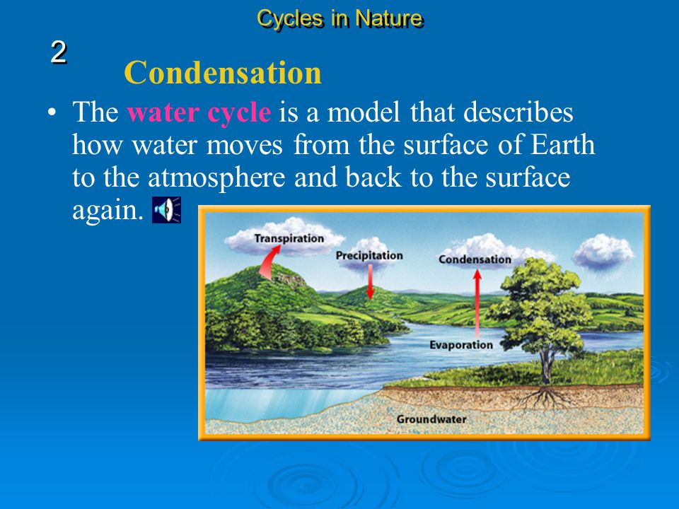 Condensation The process of changing from a gas to a liquid is called condensation. Water vapor condenses on particles of dust in the air, forming tin