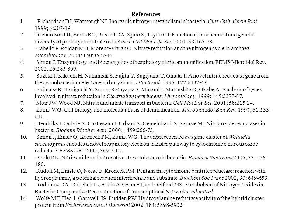 References 1. Richardson DJ, Watmough NJ. Inorganic nitrogen metabolism in bacteria.