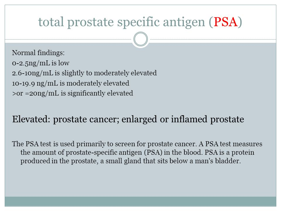 total prostate specific antigen (PSA) Normal findings: 0-2.5ng/mL is low 2.6-10ng/mL is slightly to moderately elevated 10-19.9 ng/mL is moderately elevated >or =20ng/mL is significantly elevated Elevated: prostate cancer; enlarged or inflamed prostate The PSA test is used primarily to screen for prostate cancer.