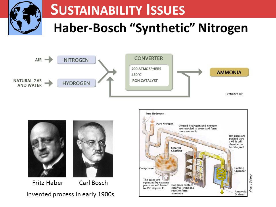 N UTRIENT C YCLING S USTAINABILITY I SSUES Haber-Bosch Synthetic Nitrogen Fritz Haber Carl Bosch Fertilizer 101 Menlo School Invented process in early 1900s