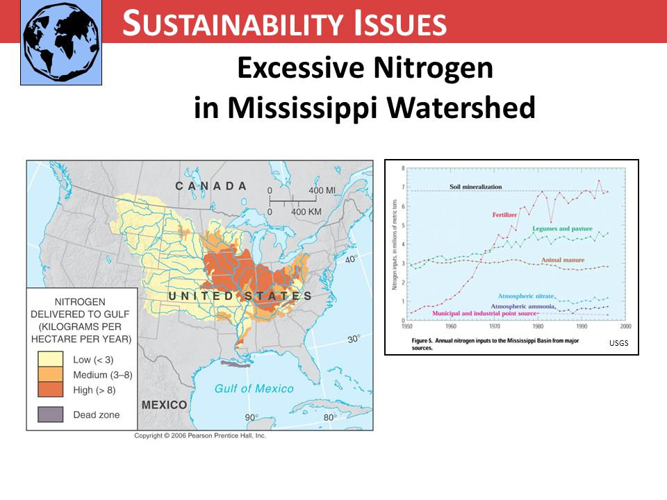 N UTRIENT C YCLING S USTAINABILITY I SSUES Excessive Nitrogen in Mississippi Watershed USGS